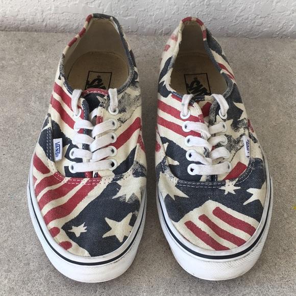 Men Vans AMERICAN USA FLAG Shoes size 8 LIKE NEW